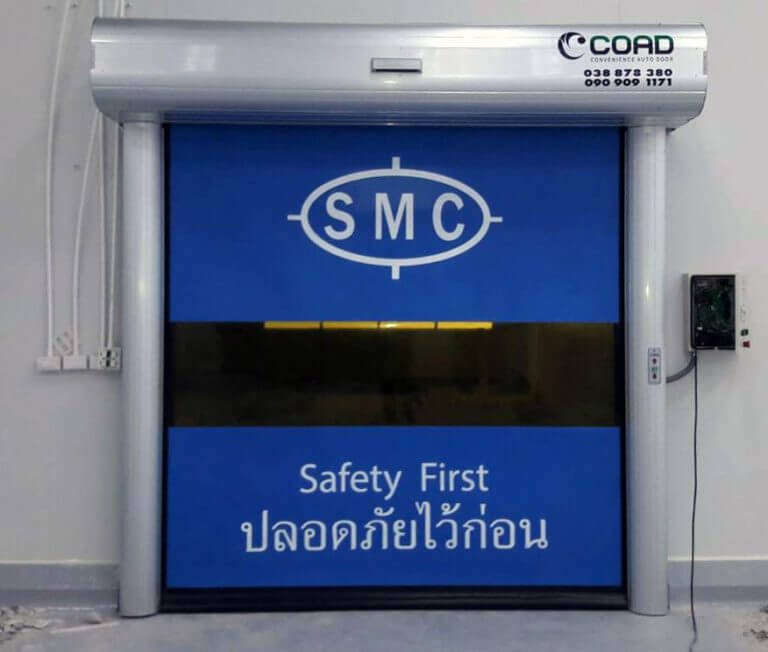 Logo printed high speed door